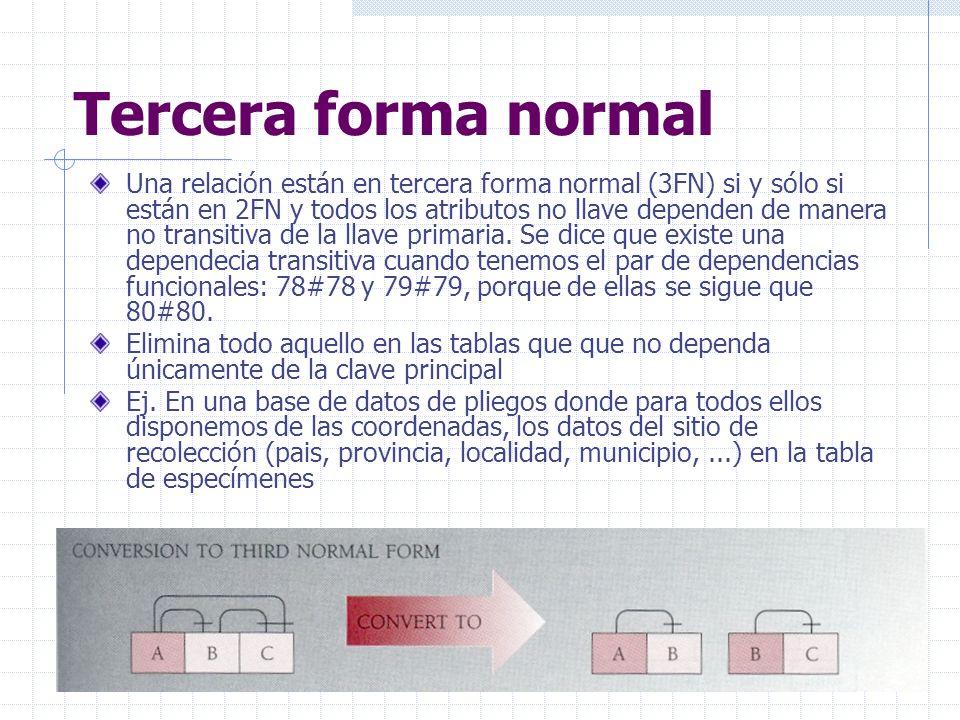 Tercera forma normal Una relación están en tercera forma normal (3FN) si y sólo si están en 2FN y todos los atributos no llave dependen de manera no transitiva de la llave primaria.