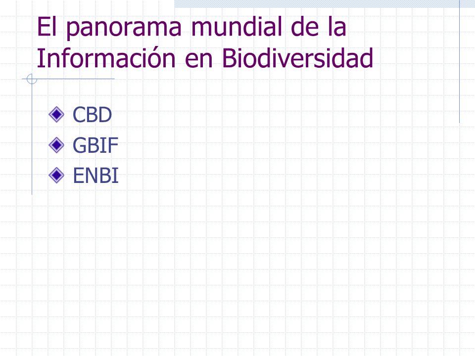 El panorama mundial de la Información en Biodiversidad CBD GBIF ENBI