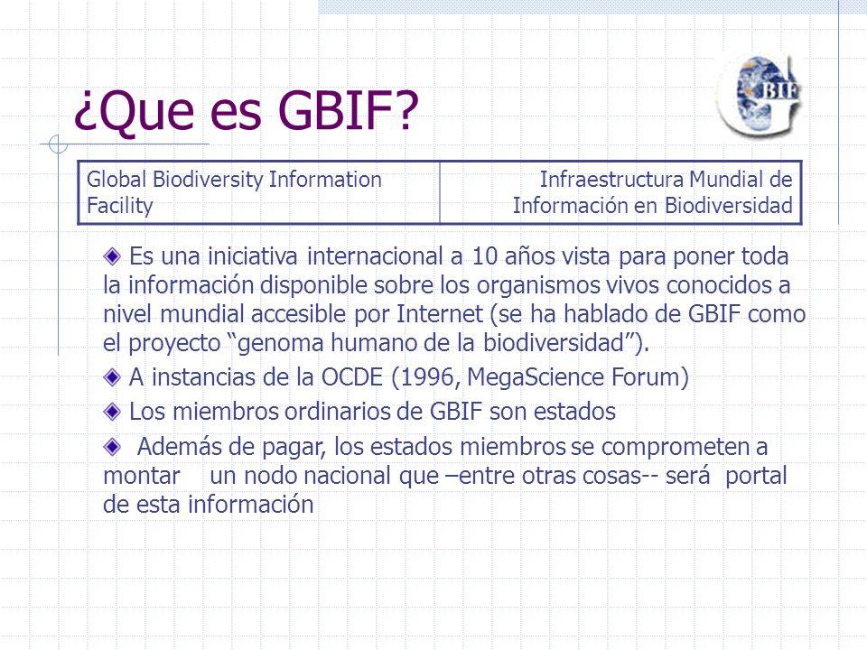 Junio de 1999: el Consejo de Ministros de la OCDE acuerda crear GBIF Marzo del 2001: GBIF nace oficialmente 2002: La Secretaría Mundial del GBIF se instala en Copenague 2003: Primer plan de trabajo anual de GBIF y primeras convocatorias de proyectos y contratos Breve historia de GBIF