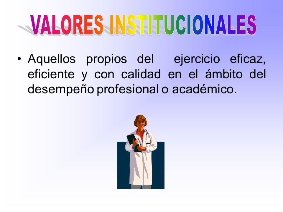 Aquellos propios del ejercicio eficaz, eficiente y con calidad en el ámbito del desempeño profesional o académico.