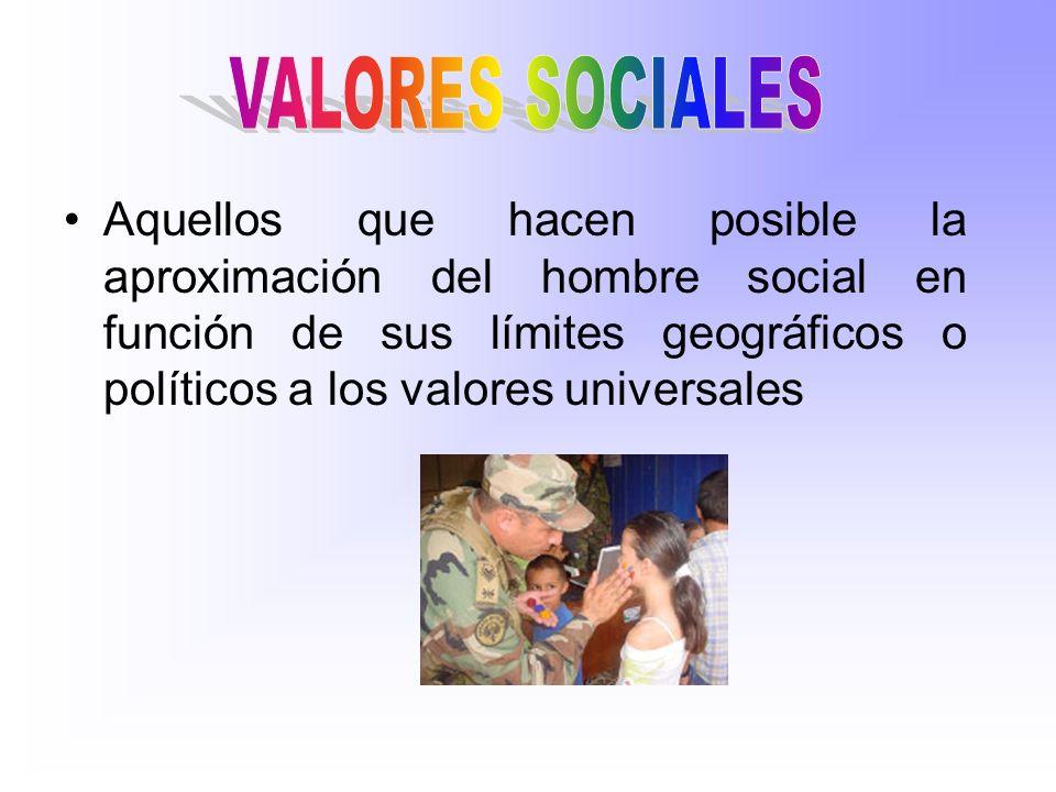 Aquellos que hacen posible la aproximación del hombre social en función de sus límites geográficos o políticos a los valores universales