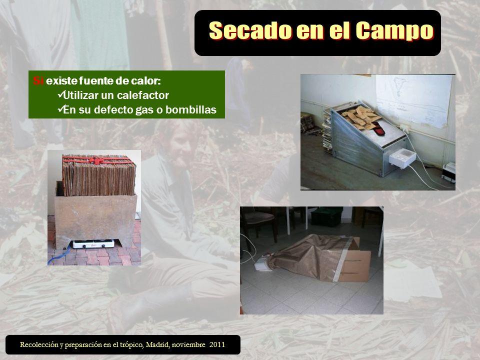 Si existe fuente de calor: Utilizar un calefactor En su defecto gas o bombillas Recolección y preparación en el trópico, Madrid, noviembre 2011