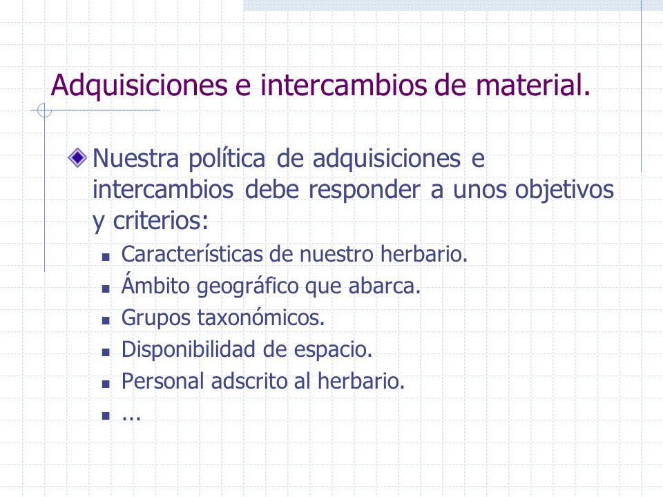 Adquisiciones e intercambios de material. Nuestra política de adquisiciones e intercambios debe responder a unos objetivos y criterios: Característica