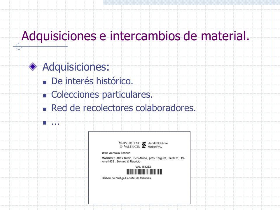 Adquisiciones e intercambios de material. Adquisiciones: De interés histórico. Colecciones particulares. Red de recolectores colaboradores....