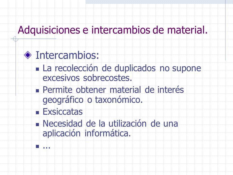 Adquisiciones e intercambios de material. Intercambios: La recolección de duplicados no supone excesivos sobrecostes. Permite obtener material de inte