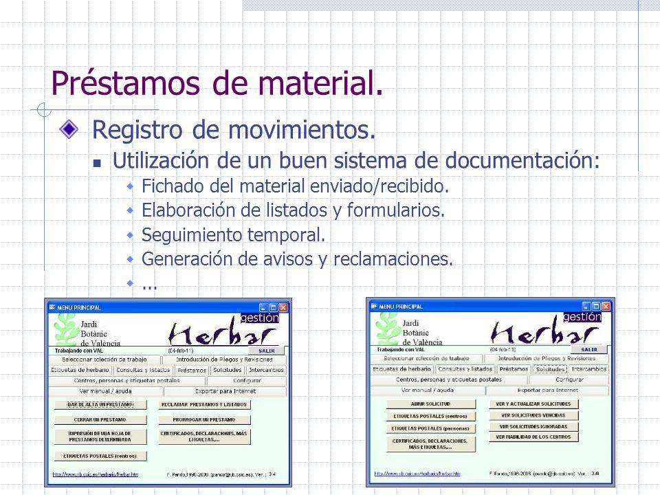 Préstamos de material. Registro de movimientos. Utilización de un buen sistema de documentación: Fichado del material enviado/recibido. Elaboración de