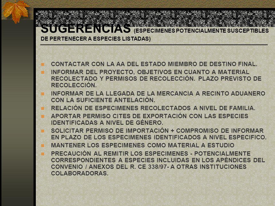 SUGERENCIAS (ESPECIMENES POTENCIALMENTE SUSCEPTIBLES DE PERTENECER A ESPECIES LISTADAS) CONTACTAR CON LA AA DEL ESTADO MIEMBRO DE DESTINO FINAL. INFOR