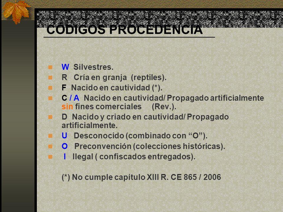 CÓDIGOS PROCEDENCIA W Silvestres. R Cría en granja (reptiles). F Nacido en cautividad (*). C / A Nacido en cautividad/ Propagado artificialmente sin f