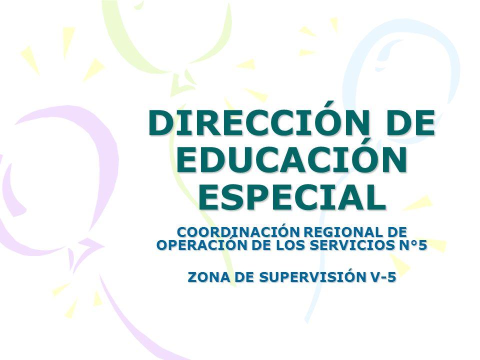 DIRECCIÓN DE EDUCACIÓN ESPECIAL COORDINACIÓN REGIONAL DE OPERACIÓN DE LOS SERVICIOS N°5 ZONA DE SUPERVISIÓN V-5