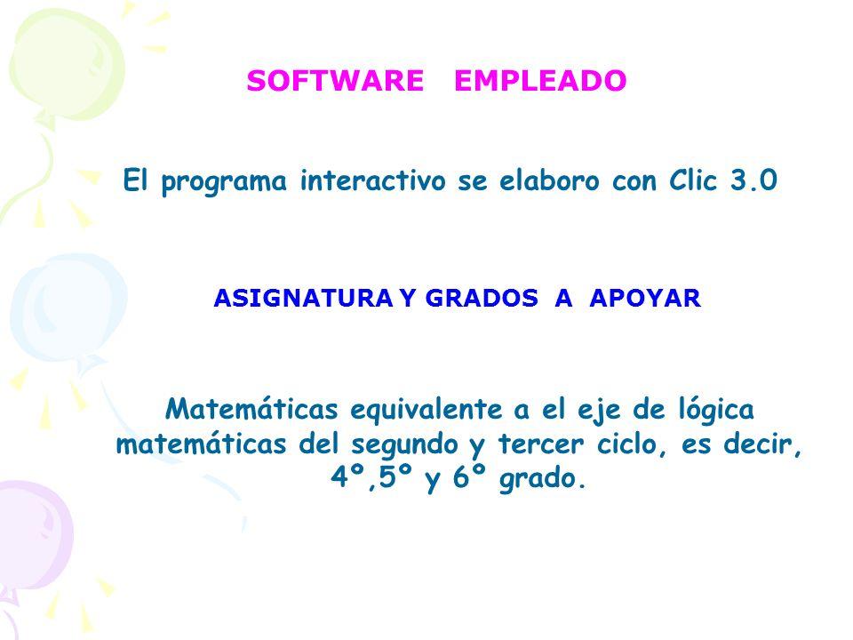 Matemáticas equivalente a el eje de lógica matemáticas del segundo y tercer ciclo, es decir, 4º,5º y 6º grado. SOFTWARE EMPLEADO El programa interacti