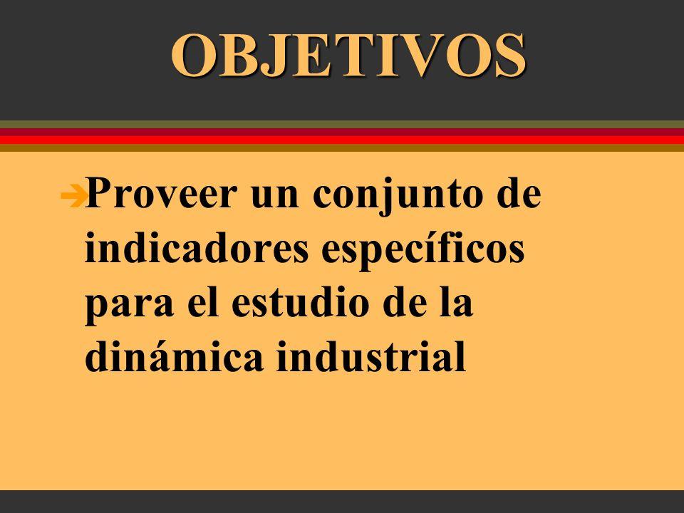 OBJETIVOS Proveer una base de datos consistente y homogénea Permitir un acceso flexible al análisis de la estructura industrial