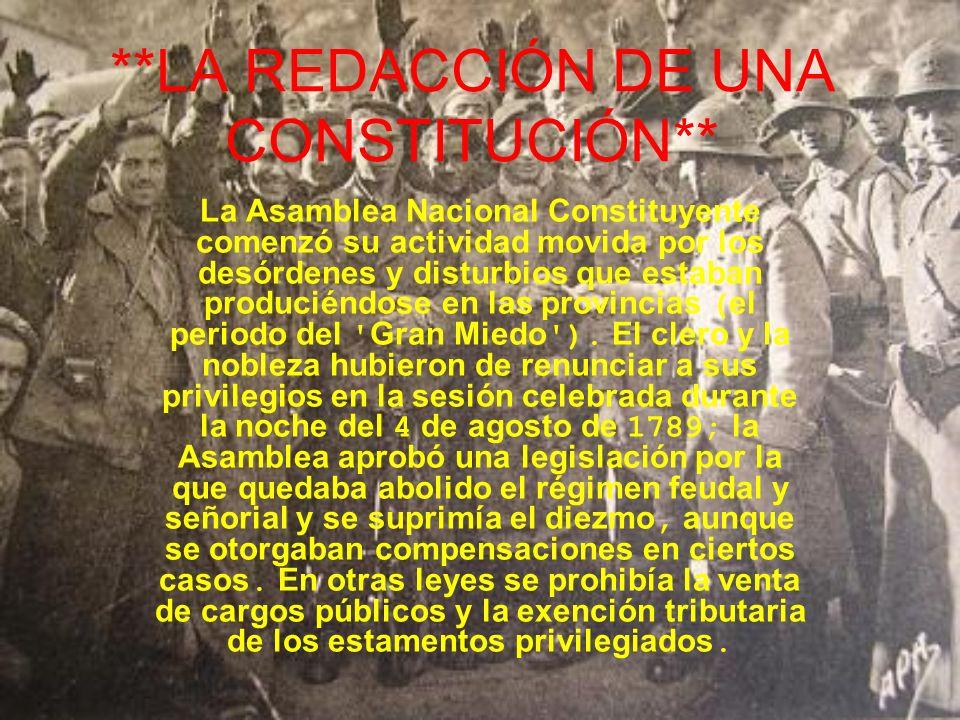 **LA REDACCIÓN DE UNA CONSTITUCIÓN** La Asamblea Nacional Constituyente comenzó su actividad movida por los desórdenes y disturbios que estaban produc