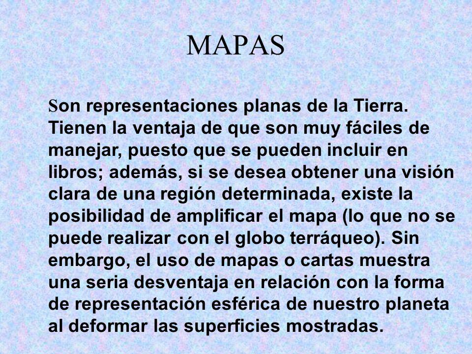 MAPAS S on representaciones planas de la Tierra. Tienen la ventaja de que son muy fáciles de manejar, puesto que se pueden incluir en libros; además,
