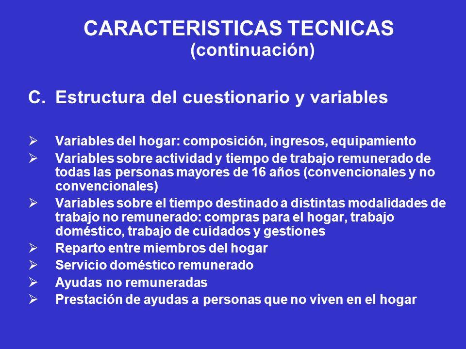 CARACTERISTICAS TECNICAS (continuación) D.Aplicación sobre el terreno Selección y capacitación de los encuestadores Tres tipos de supervisión Rechazos y reacción de los/as encuestados/as