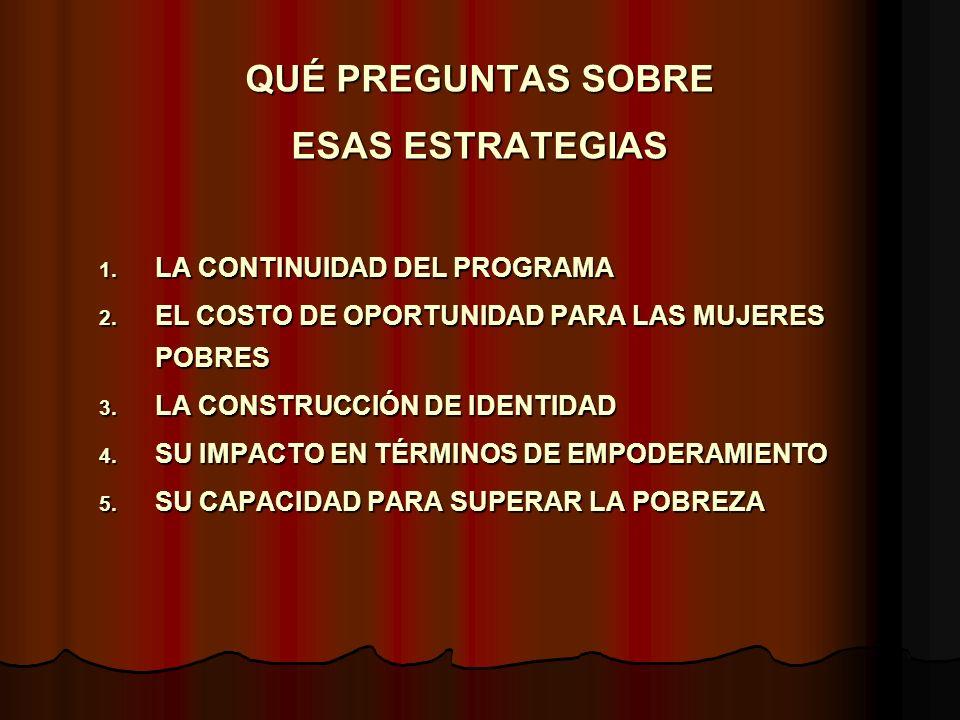 DOS CASOS DE ARGENTINA - INGRESO DE DESARROLLO HUMANO/FAMILIAS OBJETIVO: TRANSFERENCIA MONETARIA A MADRES DE HOGARES SIN INGRESOS Y CON HIJOS MENORES DE 18 AÑOS Y/O EMBARAZADAS OBJETIVO: TRANSFERENCIA MONETARIA A MADRES DE HOGARES SIN INGRESOS Y CON HIJOS MENORES DE 18 AÑOS Y/O EMBARAZADAS COBERTURA ESTIMADA INCIAL: 400.000 HOGARES COBERTURA ESTIMADA INCIAL: 400.000 HOGARES COBERTURA FINAL: 275.000 HOGARES COBERTURA FINAL: 275.000 HOGARES MONTO DE LA TRANSFERENCIA: $ 136,6.- (U$S 45.-) (PROMEDIO POR NUCLEO ACTUALIZADO 2004) MONTO DE LA TRANSFERENCIA: $ 136,6.- (U$S 45.-) (PROMEDIO POR NUCLEO ACTUALIZADO 2004) PROPORCION DE MUJERES: POR DISEÑO 90% PROPORCION DE MUJERES: POR DISEÑO 90% COMPONENTE DE GENERO: REFORZAMIENTO DE LOS ROLES TRADICIONALES DE CUIDADO INFANTIL COMPONENTE DE GENERO: REFORZAMIENTO DE LOS ROLES TRADICIONALES DE CUIDADO INFANTIL IMPACTO SOBRE GENERO: NO SABEMOS IMPACTO SOBRE GENERO: NO SABEMOS IMPACTO SOBRE POBREZA: EL SUBSIDIO CONSTITUYE EL 21% DE LA LINEA DE POBREZA Y EL 46% DE LA DE INDIGENCIA IMPACTO SOBRE POBREZA: EL SUBSIDIO CONSTITUYE EL 21% DE LA LINEA DE POBREZA Y EL 46% DE LA DE INDIGENCIA FINANCIAMIENTO: MONTO TOTAL, 228 MILLONES DE DOLARES-AÑO 2002 FINANCIAMIENTO: MONTO TOTAL, 228 MILLONES DE DOLARES-AÑO 2002 ORGANISMO DE EJECUCIÓN: MINISTERIO DE DESARROLLO SOCIAL ORGANISMO DE EJECUCIÓN: MINISTERIO DE DESARROLLO SOCIAL