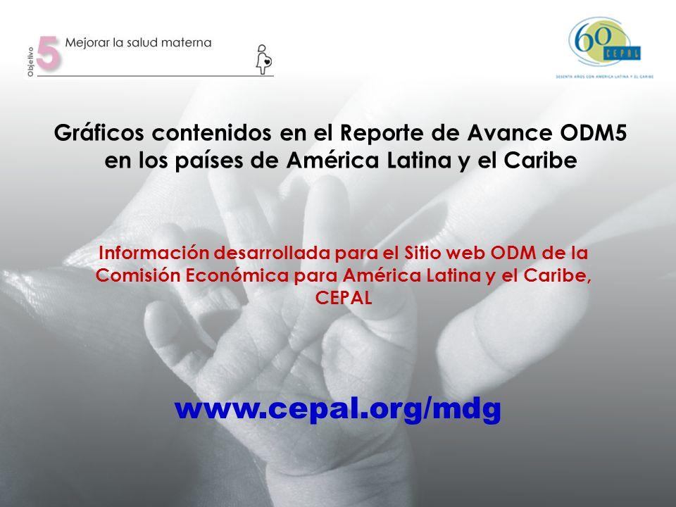 Gráficos contenidos en el Reporte de Avance ODM5 en los países de América Latina y el Caribe Información desarrollada para el Sitio web ODM de la Comisión Económica para América Latina y el Caribe, CEPAL www.cepal.org/mdg