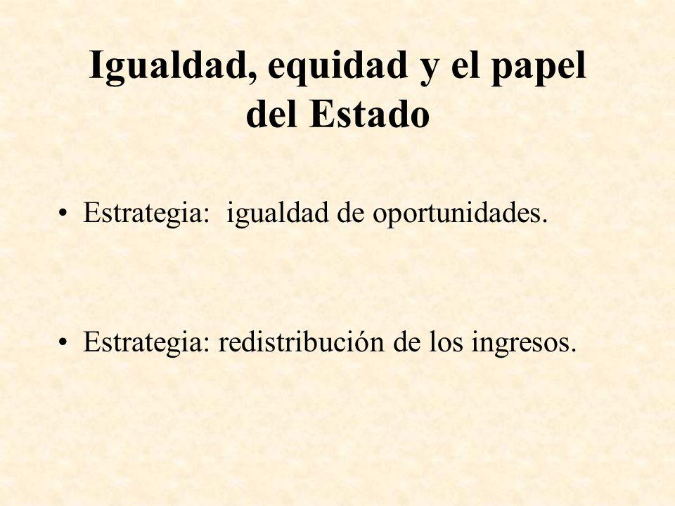 Igualdad, equidad y el papel del Estado Estrategia: igualdad de oportunidades. Estrategia: redistribución de los ingresos.