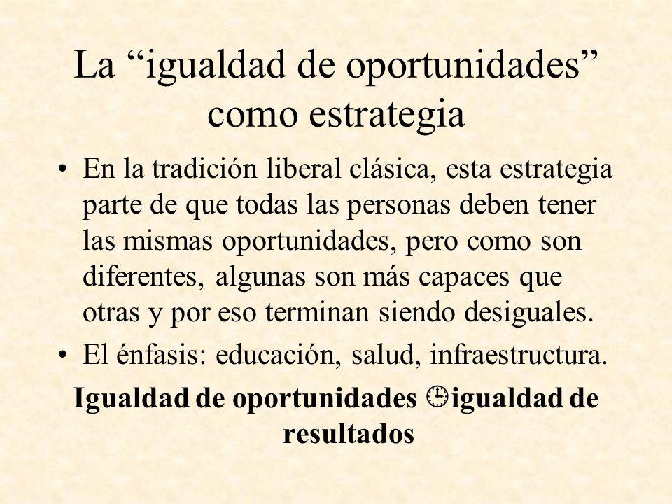 La igualdad de oportunidades como estrategia En la tradición liberal clásica, esta estrategia parte de que todas las personas deben tener las mismas o