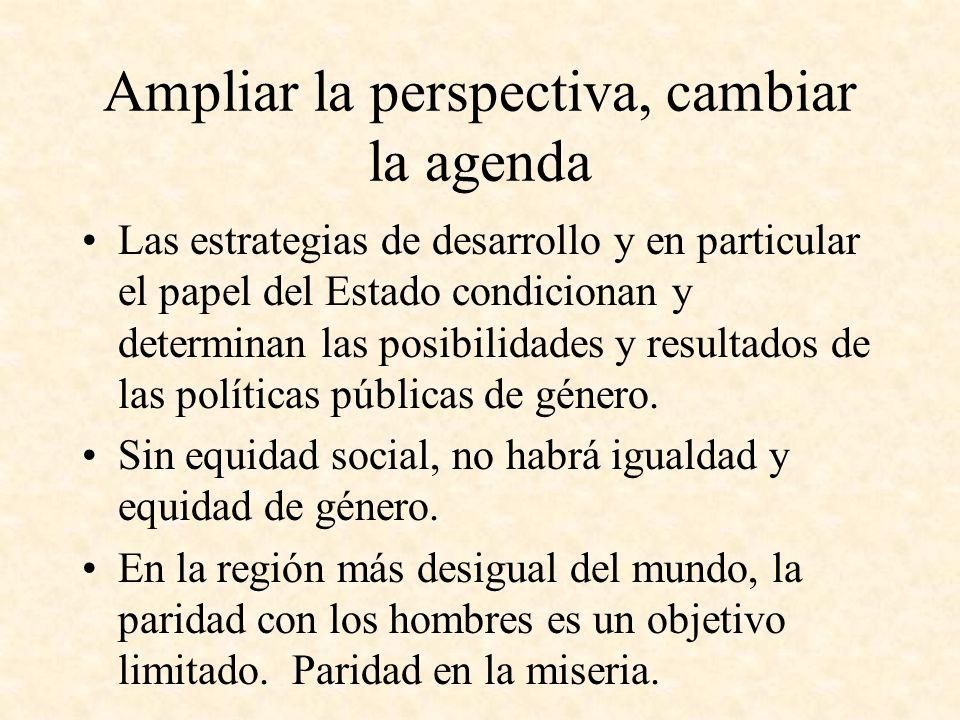 Ampliar la perspectiva, cambiar la agenda Las estrategias de desarrollo y en particular el papel del Estado condicionan y determinan las posibilidades