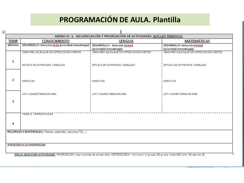 PROGRAMACIÓN DE AULA. Plantilla