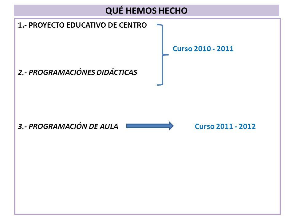 CARACTERÍSTICAS: Acuerdos generales de principios y compromisos: – De criterios de selección de objetivos y de contenidos.