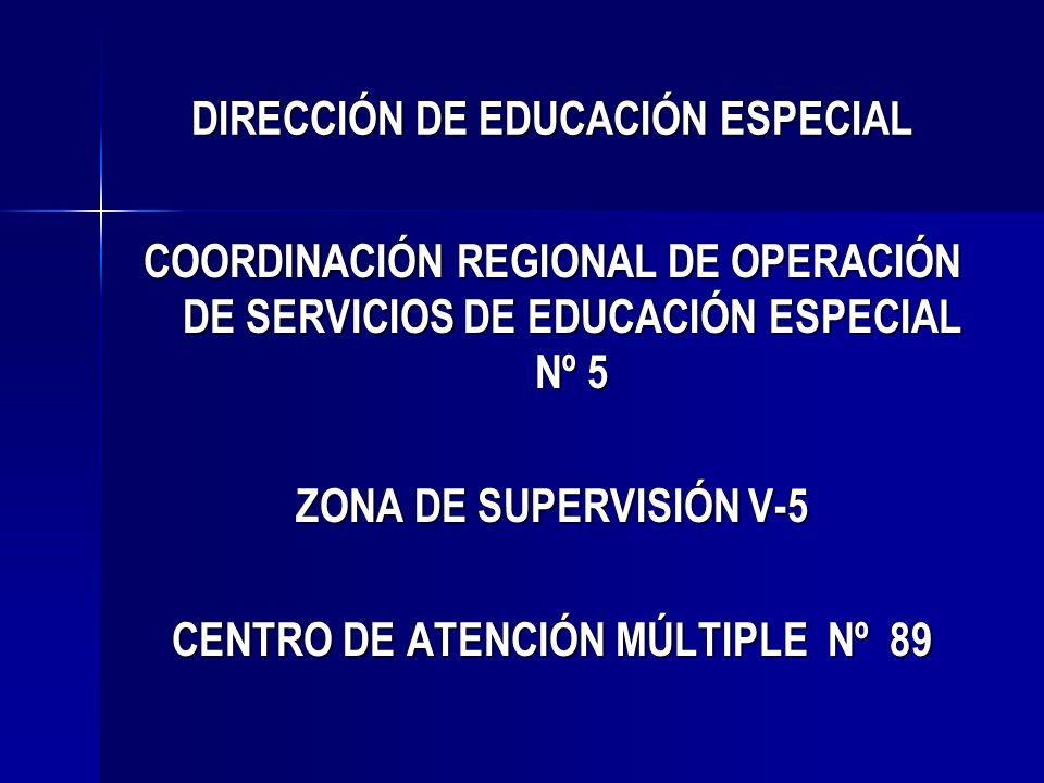 DIRECCIÓN DE EDUCACIÓN ESPECIAL COORDINACIÓN REGIONAL DE OPERACIÓN DE SERVICIOS DE EDUCACIÓN ESPECIAL Nº 5 ZONA DE SUPERVISIÓN V-5 CENTRO DE ATENCIÓN