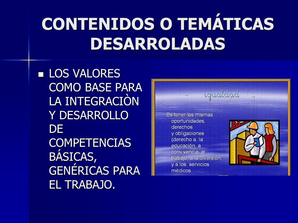 CONTENIDOS O TEMÁTICAS DESARROLADAS LOS VALORES COMO BASE PARA LA INTEGRACIÒN Y DESARROLLO DE COMPETENCIAS BÁSICAS, GENÉRICAS PARA EL TRABAJO. LOS VAL