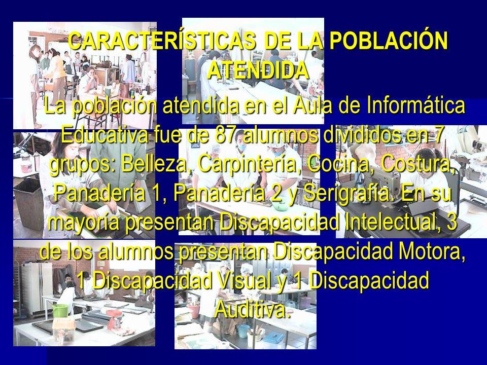 CARACTERÍSTICAS DE LA POBLACIÓN ATENDIDA La población atendida en el Aula de Informática Educativa fue de 87 alumnos divididos en 7 grupos: Belleza, C