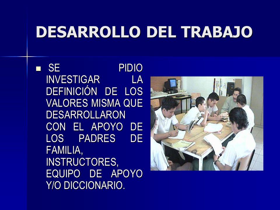 DESARROLLO DEL TRABAJO SE PIDIO INVESTIGAR LA DEFINICIÓN DE LOS VALORES MISMA QUE DESARROLLARON CON EL APOYO DE LOS PADRES DE FAMILIA, INSTRUCTORES, E