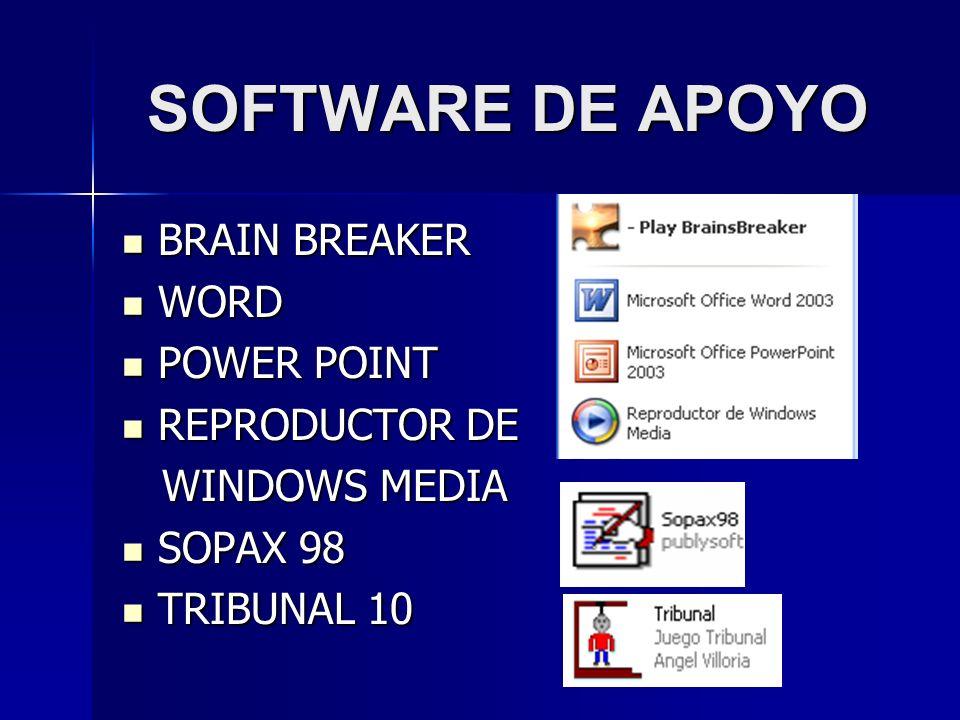 SOFTWARE DE APOYO BRAIN BREAKER BRAIN BREAKER WORD WORD POWER POINT POWER POINT REPRODUCTOR DE REPRODUCTOR DE WINDOWS MEDIA WINDOWS MEDIA SOPAX 98 SOP