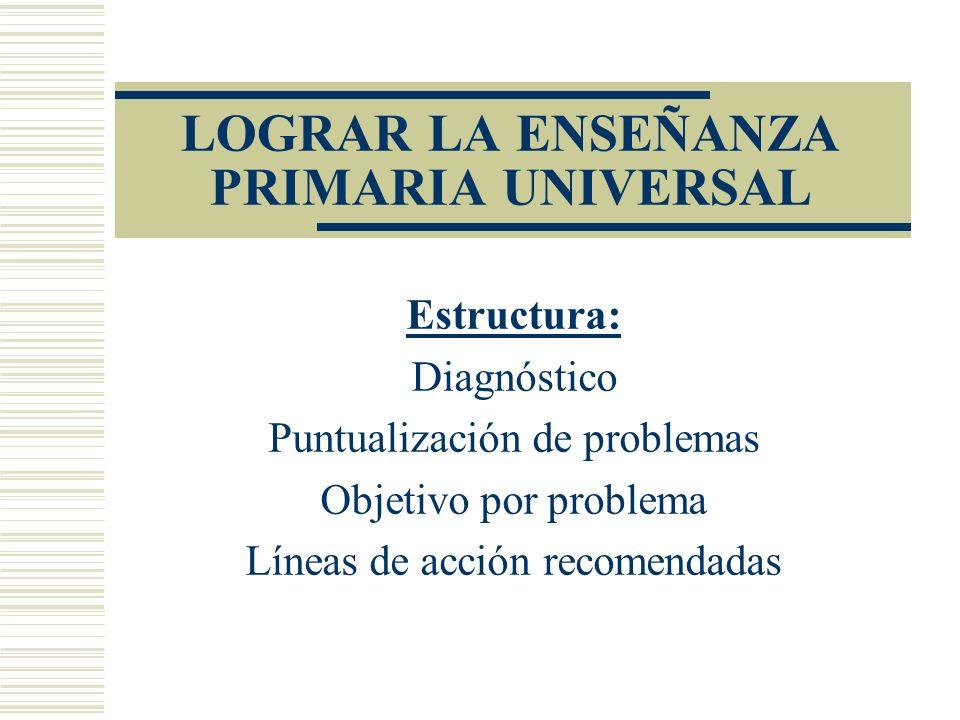 LOGRAR LA ENSEÑANZA PRIMARIA UNIVERSAL Estructura: Diagnóstico Puntualización de problemas Objetivo por problema Líneas de acción recomendadas