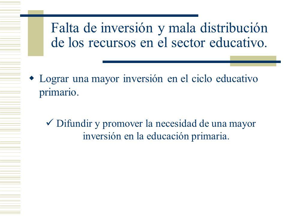 Falta de inversión y mala distribución de los recursos en el sector educativo. Lograr una mayor inversión en el ciclo educativo primario. Difundir y p