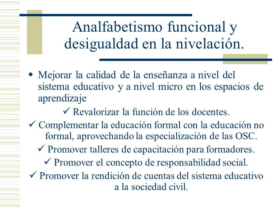 Analfabetismo funcional y desigualdad en la nivelación. Mejorar la calidad de la enseñanza a nivel del sistema educativo y a nivel micro en los espaci