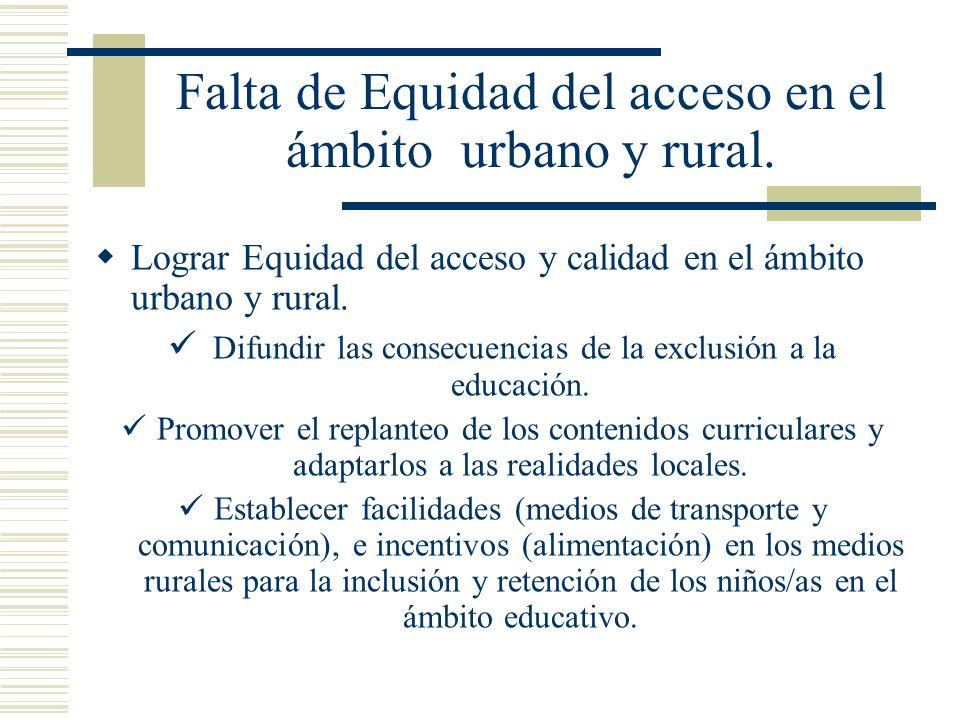 Falta de Equidad del acceso en el ámbito urbano y rural. Lograr Equidad del acceso y calidad en el ámbito urbano y rural. Difundir las consecuencias d