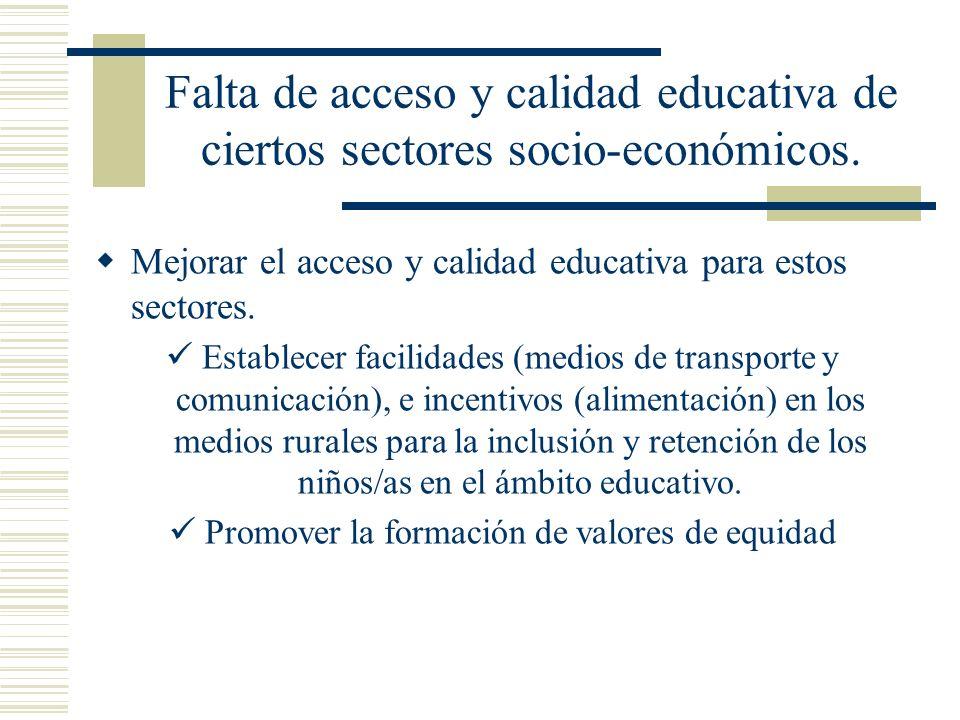 Falta de acceso y calidad educativa de ciertos sectores socio-económicos. Mejorar el acceso y calidad educativa para estos sectores. Establecer facili