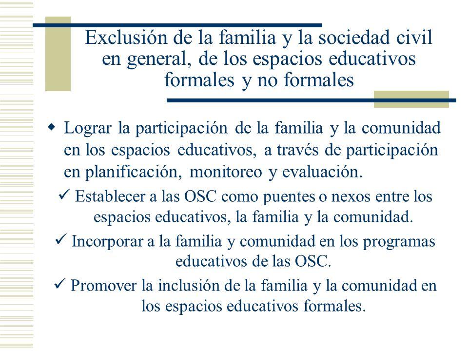 Exclusión de la familia y la sociedad civil en general, de los espacios educativos formales y no formales Lograr la participación de la familia y la c
