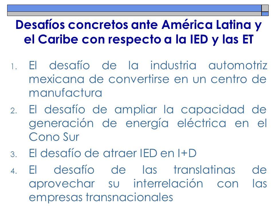 Desafíos concretos ante América Latina y el Caribe con respecto a la IED y las ET 1. El desafío de la industria automotriz mexicana de convertirse en