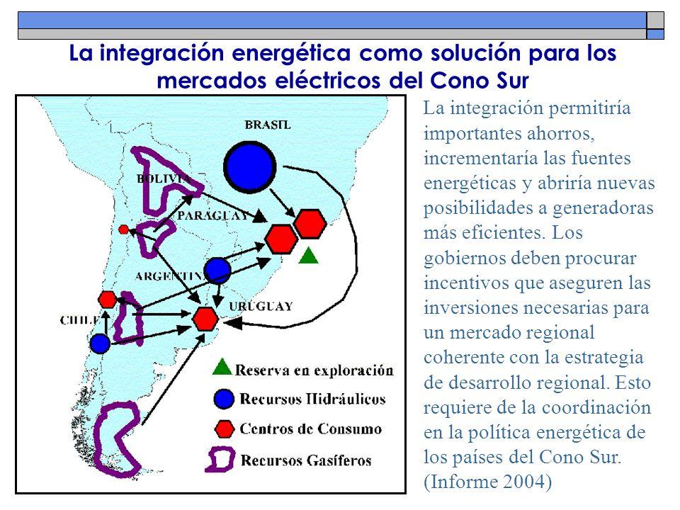 La integración energética como solución para los mercados eléctricos del Cono Sur La integración permitiría importantes ahorros, incrementaría las fue
