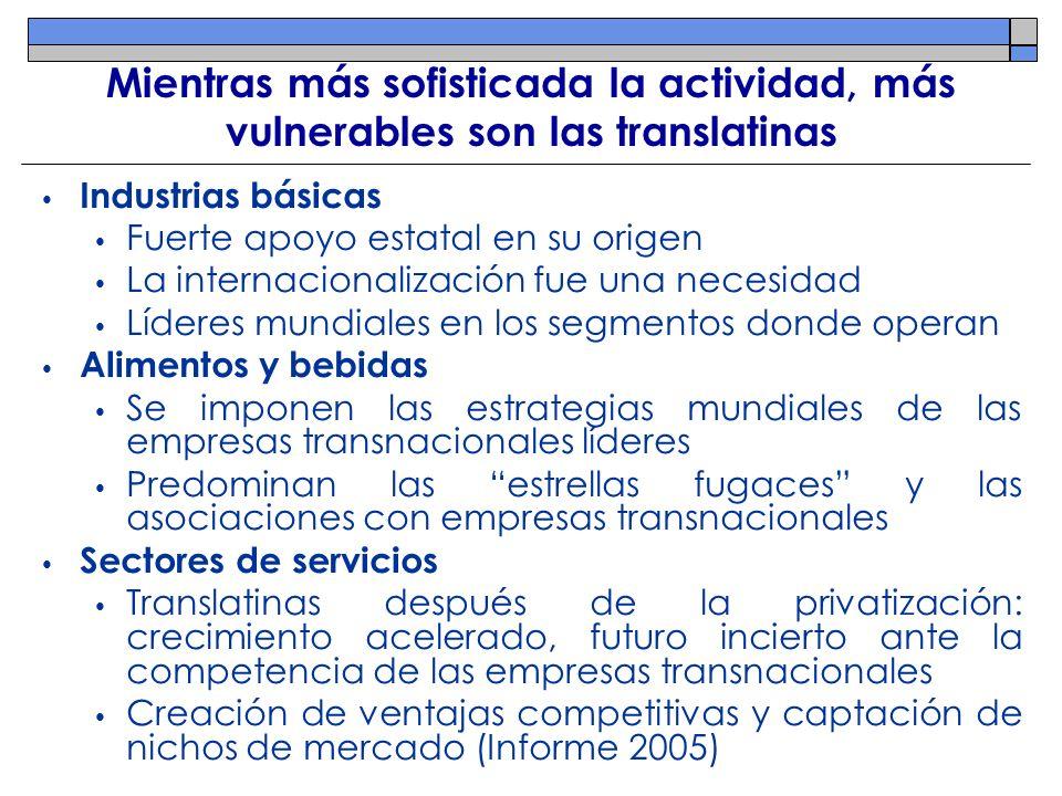 Mientras más sofisticada la actividad, más vulnerables son las translatinas Industrias básicas Fuerte apoyo estatal en su origen La internacionalizaci