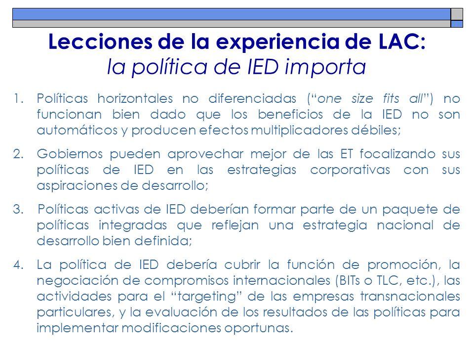 Lecciones de la experiencia de LAC: la política de IED importa 1.Políticas horizontales no diferenciadas (one size fits all) no funcionan bien dado qu