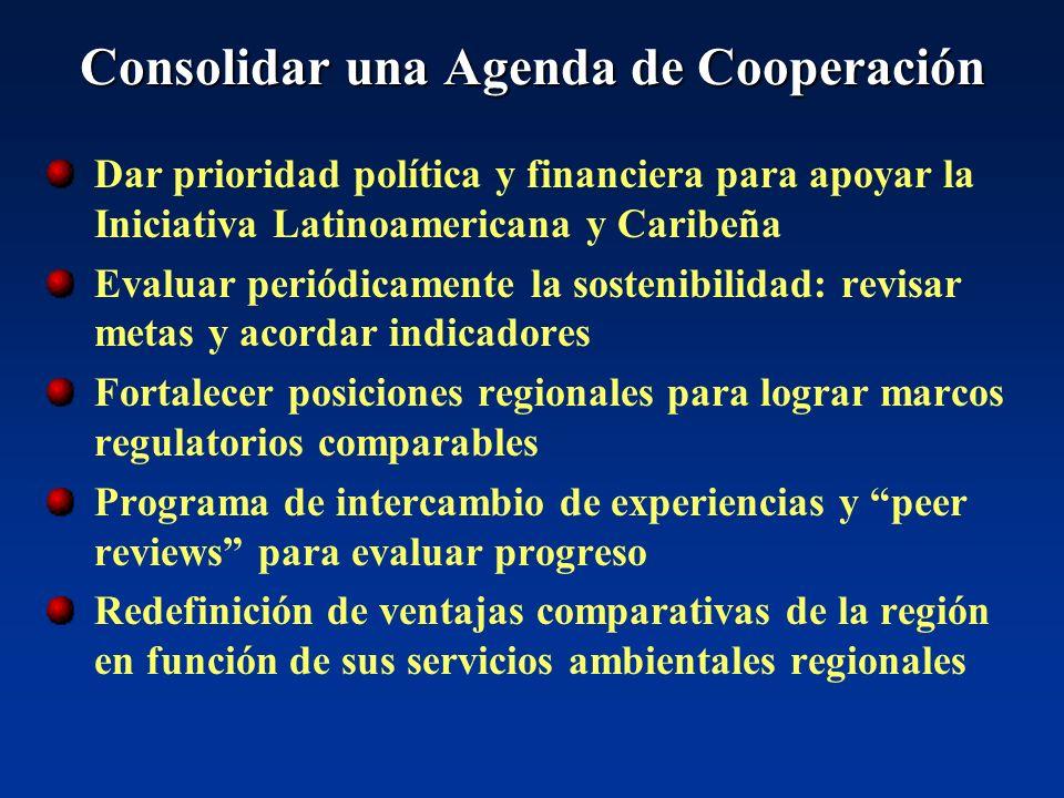 Consolidar una Agenda de Cooperación Dar prioridad política y financiera para apoyar la Iniciativa Latinoamericana y Caribeña Evaluar periódicamente l