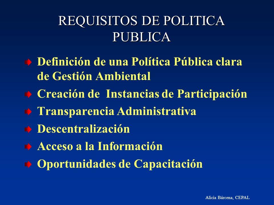 Alicia Bárcena, CEPAL REQUISITOS DE POLITICA PUBLICA Definición de una Política Pública clara de Gestión Ambiental Creación de Instancias de Participa