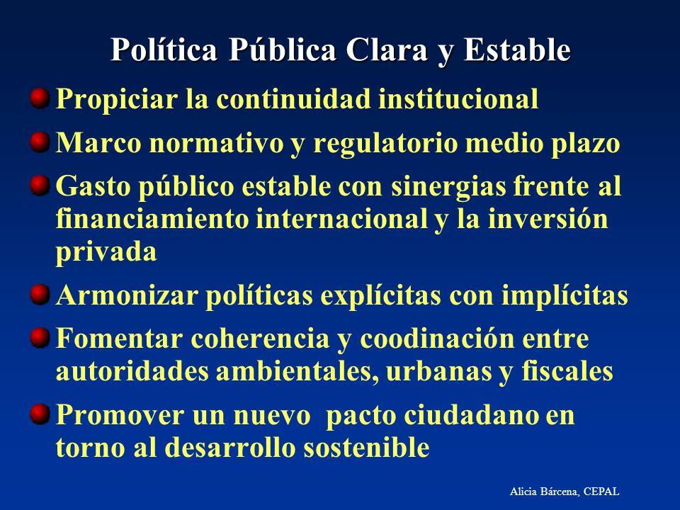 Alicia Bárcena, CEPAL Política Pública Clara y Estable Propiciar la continuidad institucional Marco normativo y regulatorio medio plazo Gasto público