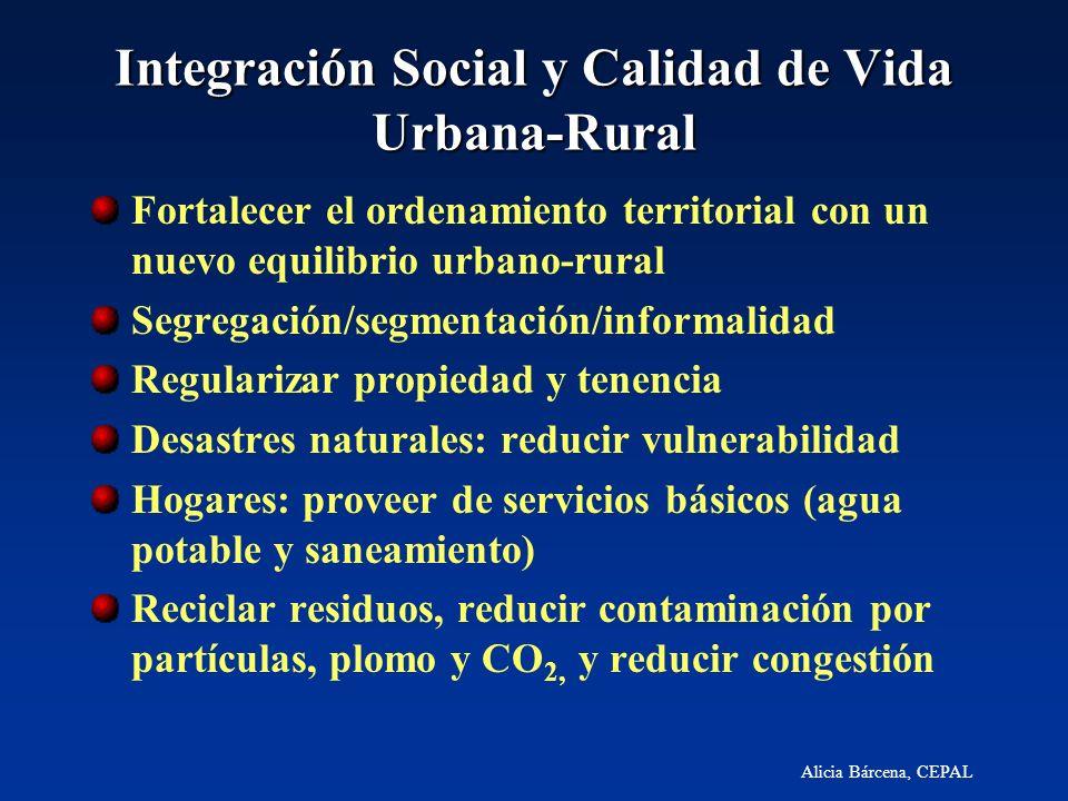 Alicia Bárcena, CEPAL Integración Social y Calidad de Vida Urbana-Rural Fortalecer el ordenamiento territorial con un nuevo equilibrio urbano-rural Se