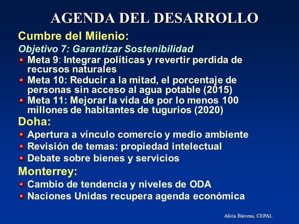 Alicia Bárcena, CEPAL AGENDA DEL DESARROLLO Cumbre del Milenio: Objetivo 7: Garantizar Sostenibilidad Meta 9: Integrar políticas y revertir perdida de
