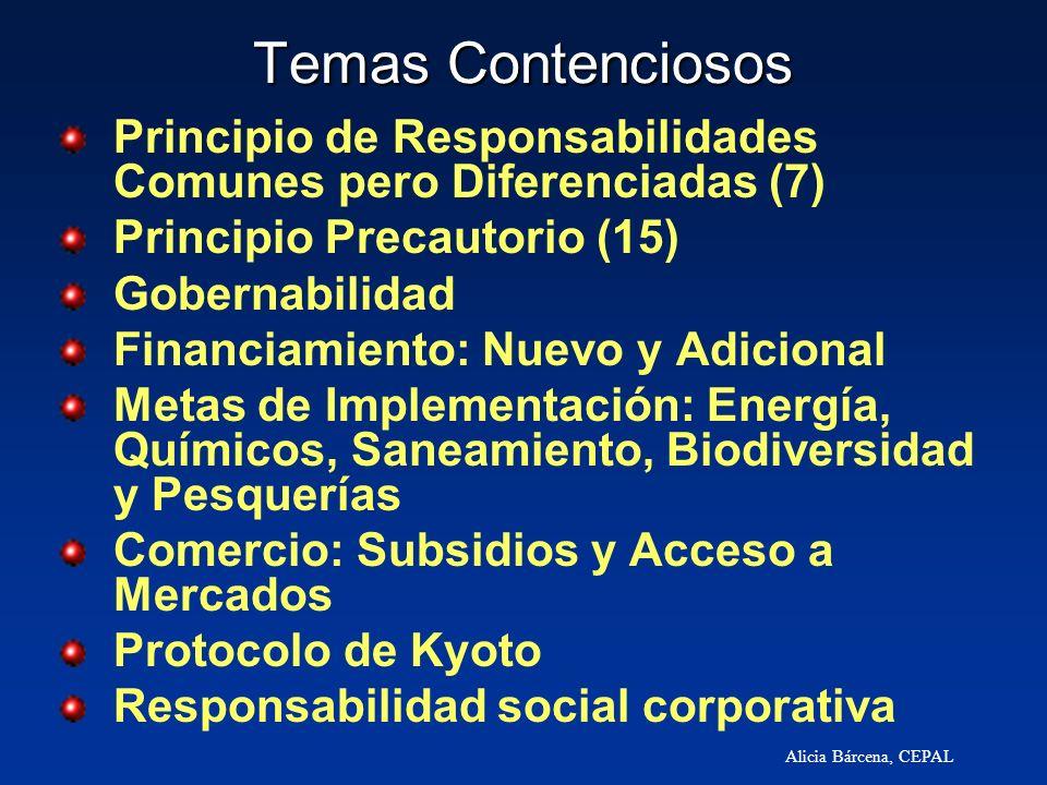 Alicia Bárcena, CEPAL Temas Contenciosos Principio de Responsabilidades Comunes pero Diferenciadas (7) Principio Precautorio (15) Gobernabilidad Finan