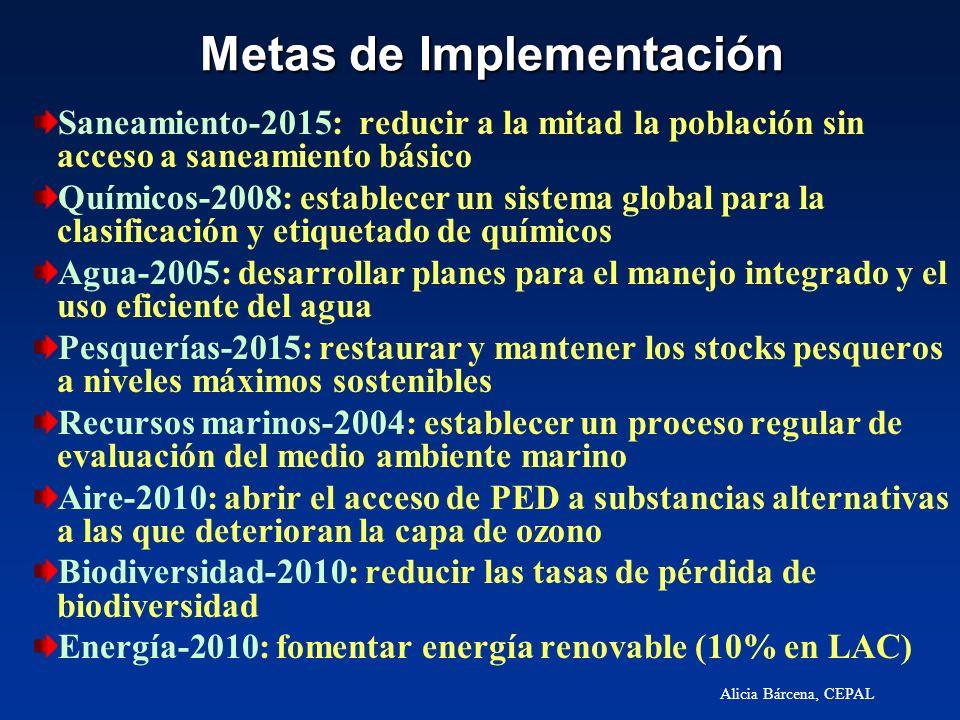 Alicia Bárcena, CEPAL Metas de Implementación Saneamiento-2015: reducir a la mitad la población sin acceso a saneamiento básico Químicos-2008: estable
