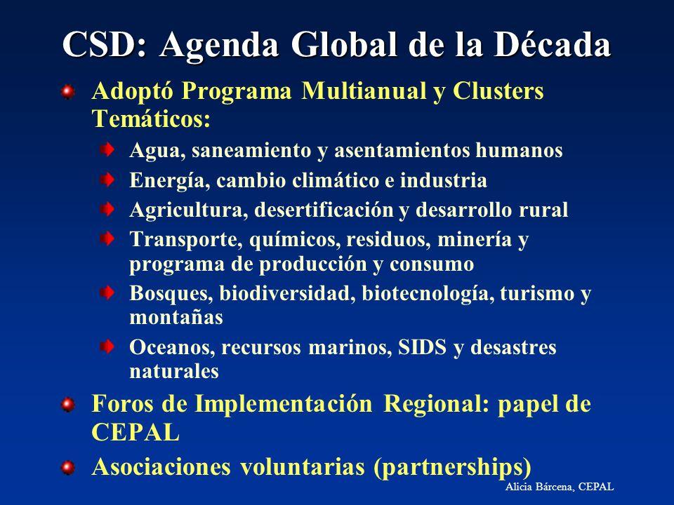 Alicia Bárcena, CEPAL CSD: Agenda Global de la Década Adoptó Programa Multianual y Clusters Temáticos: Agua, saneamiento y asentamientos humanos Energ