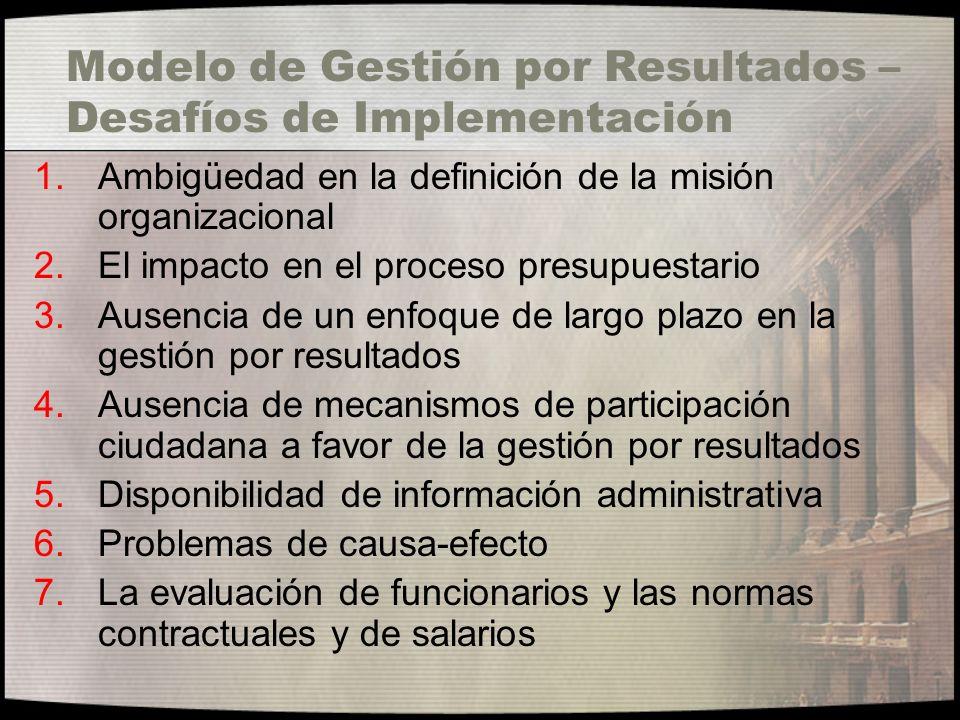Modelo de Gestión por Resultados – Desafíos de Implementación 1.Ambigüedad en la definición de la misión organizacional 2.El impacto en el proceso pre