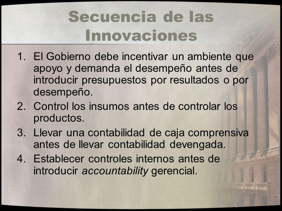 Secuencia de las Innovaciones 1.El Gobierno debe incentivar un ambiente que apoyo y demanda el desempeño antes de introducir presupuestos por resultad